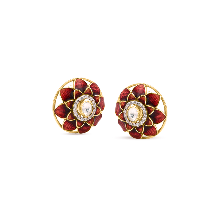 Crimson Petals Stud Earrings