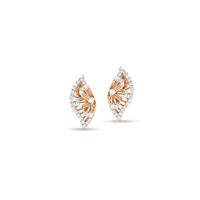 Diamond Earrings 18 Karat Rose Gold Delicate Leafy Diamond StudEarrings