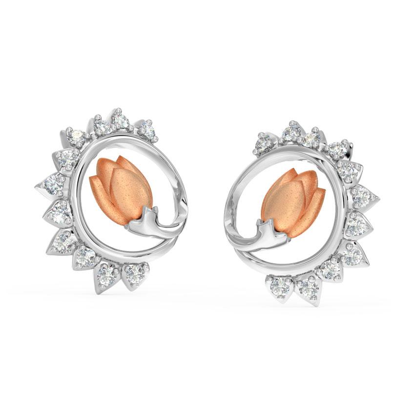 Diamond Earrings 18 Karat Two Tone Gold Gleam Tulip Diamond Stud Earrings