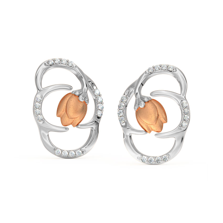 Enclosed Tulip Stud Earrings