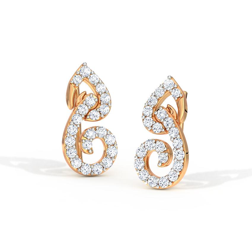 Diamond Earrings 14 Karat Rose Gold Leaflet Diamond Ear Cuffs