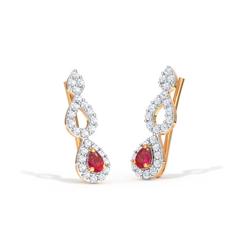 Diamond,Gemstone Earrings 14 Karat Rose Gold Pear Gemstone Ear Cuffs