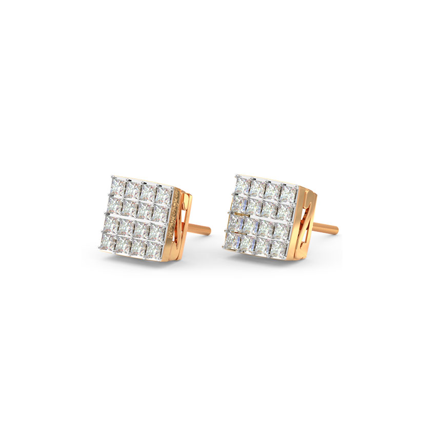 Diamond Earrings 18 Karat Rose Gold Minimalistic Quad Diamond Stud Earrings