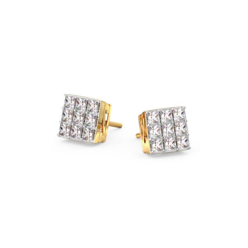 Diamond Earrings 14 Karat Yellow Gold Classic Quad Diamond Stud Earrings