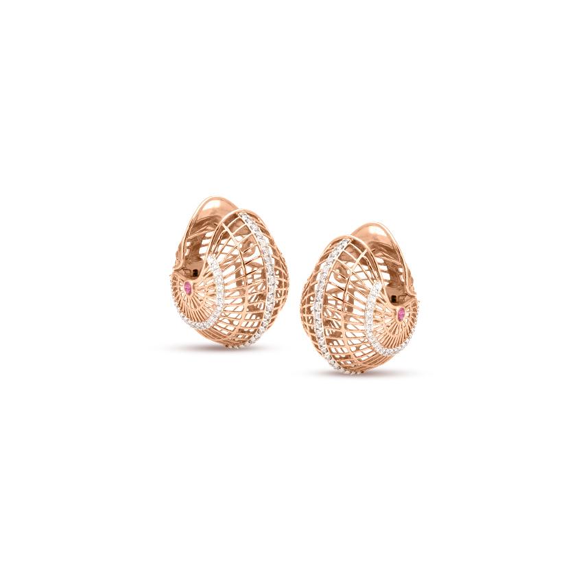 Diamond,Gemstone Earrings 18 Karat Rose Gold Marvellous Ruby Gemstone Hoop Earrings