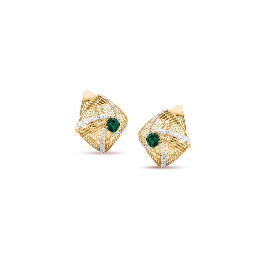 Emerald Mesh Hoop Earrings