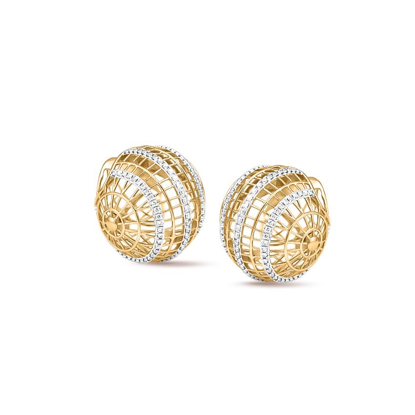 Diamond Earrings 18 Karat Yellow Gold Voluminous Orb Diamond Stud Earrings