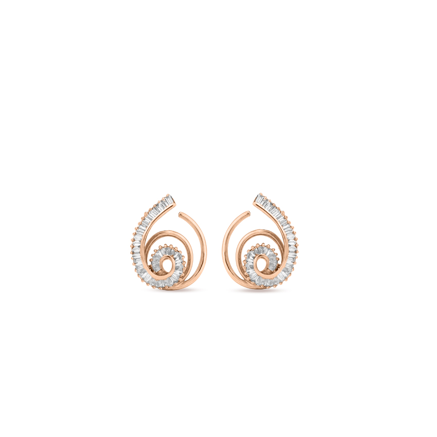 Diamond Earrings 18 Karat Rose Gold Intricate Swirl Diamond Hoop Earrings