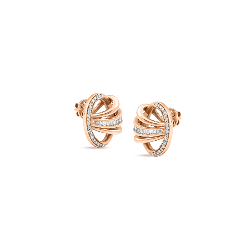 Diamond Earrings 18 Karat Yellow Gold Intertwine Ribbon Diamond Stud Earrings