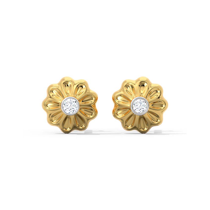 Diamond Earrings 18 Karat Yellow Gold Vanya Diamond Stud Earrings