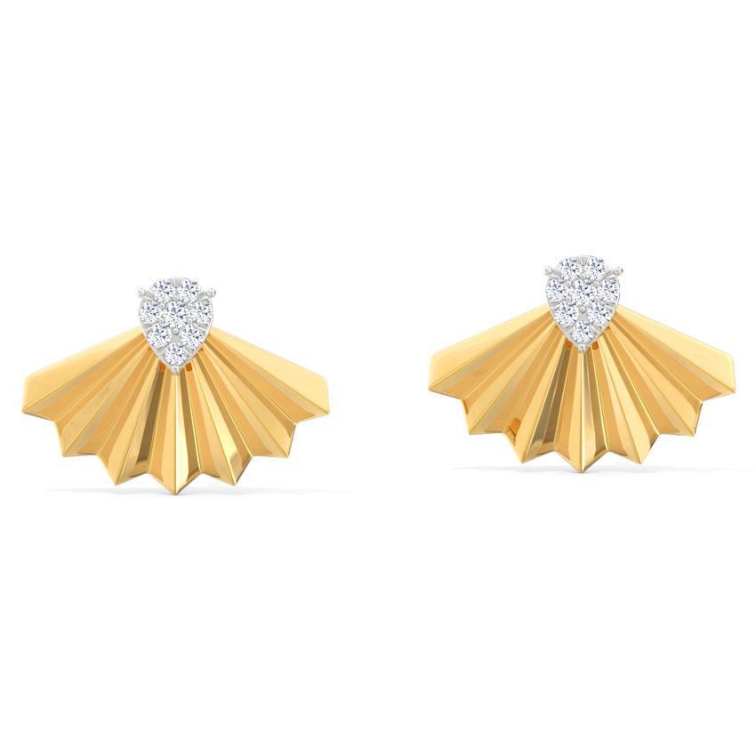 Diamond Earrings 14 Karat Yellow Gold Flare Crown Stud Earrings