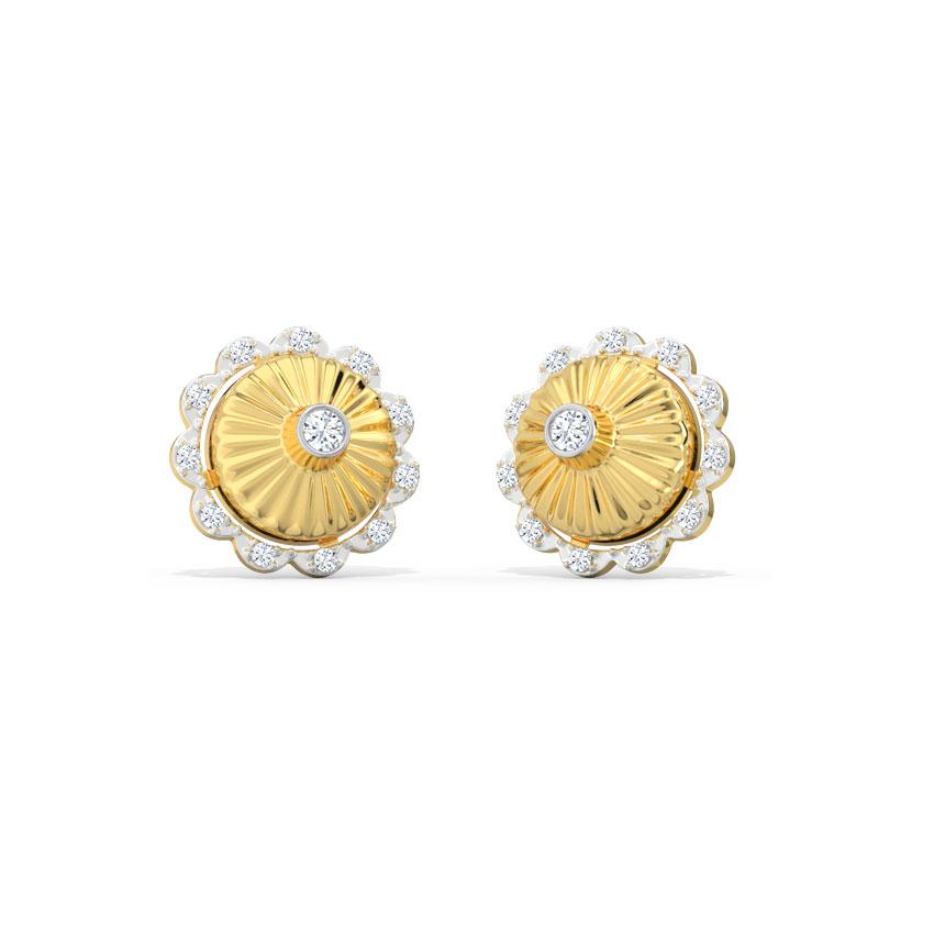 Diamond Earrings 18 Karat Yellow Gold Shanaya Circlet Stud Earrings