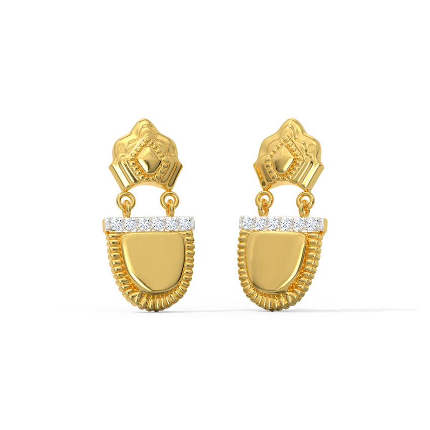 Diamond Earrings 18 Karat Yellow Gold Aditi Ornate Diamond Drop Earrings
