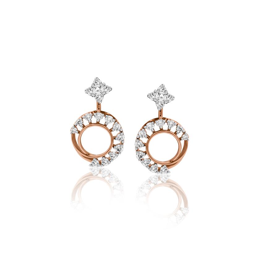 Diamond Earrings 18 Karat Rose Gold Dazzling Circlet Diamond Ear Jacket