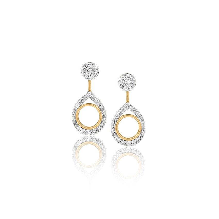 Diamond Earrings 18 Karat Yellow Gold Maria Convertible Diamond Stud Earrings