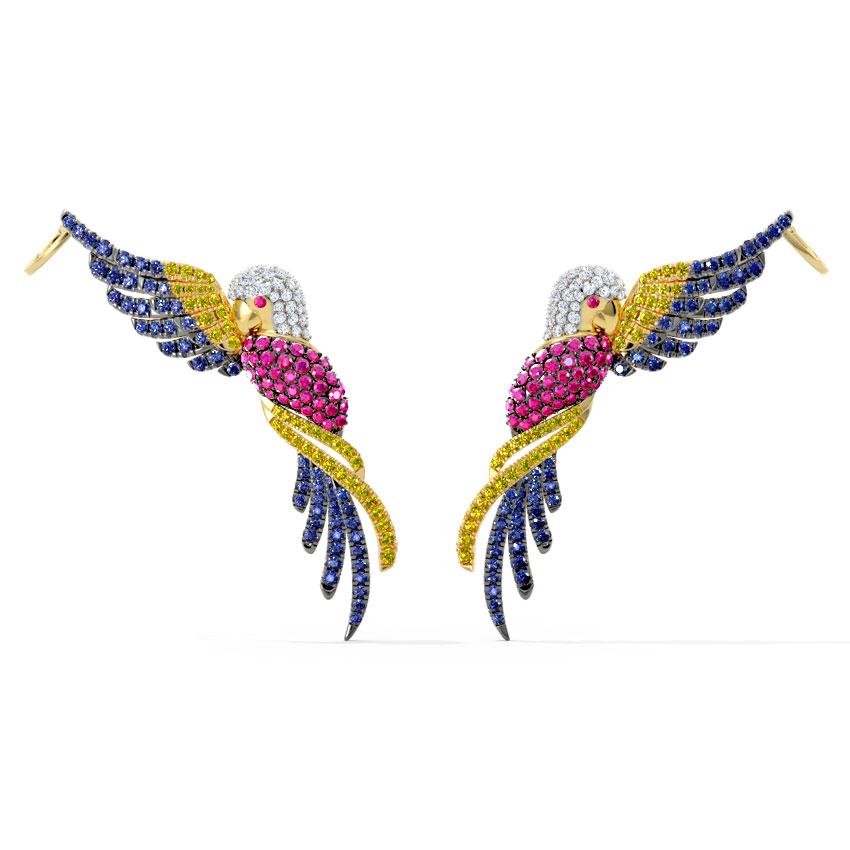 Diamond,Gemstone Earrings 18 Karat Yellow Gold Birdie Gemstone Stud Earrings