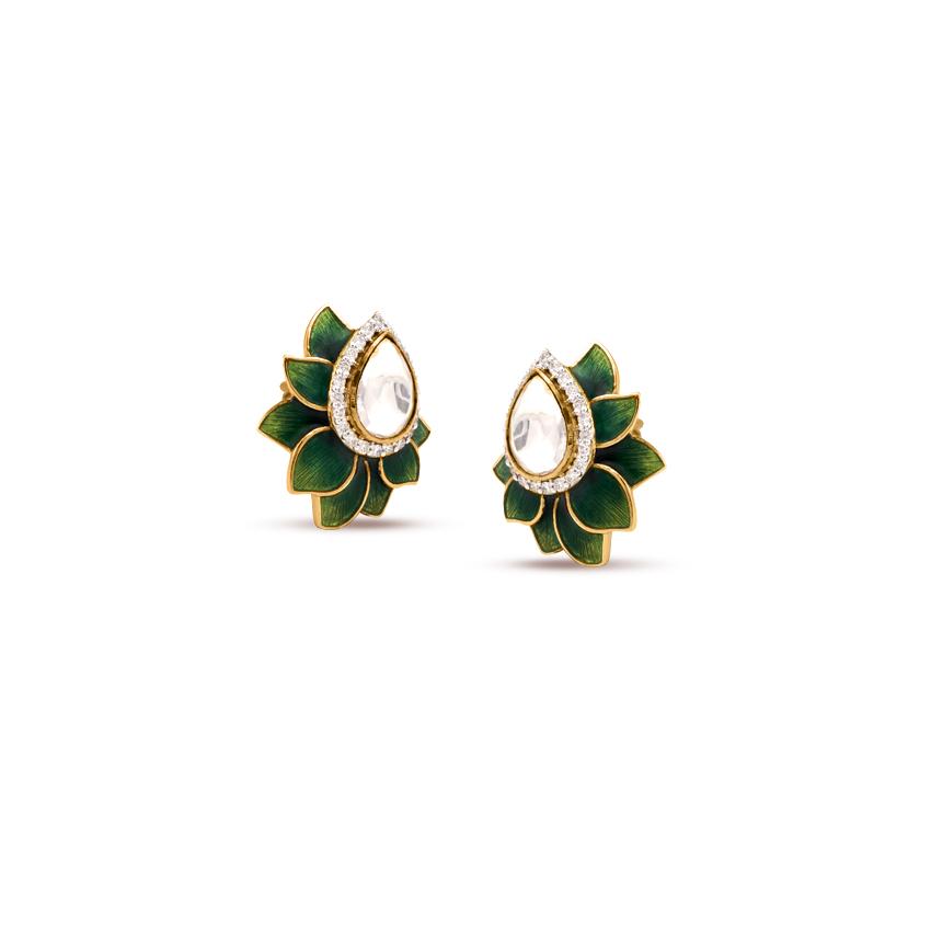 Diamond,Gemstone Earrings 18 Karat Yellow Gold Glorious Bilor Gemstone Stud Earrings