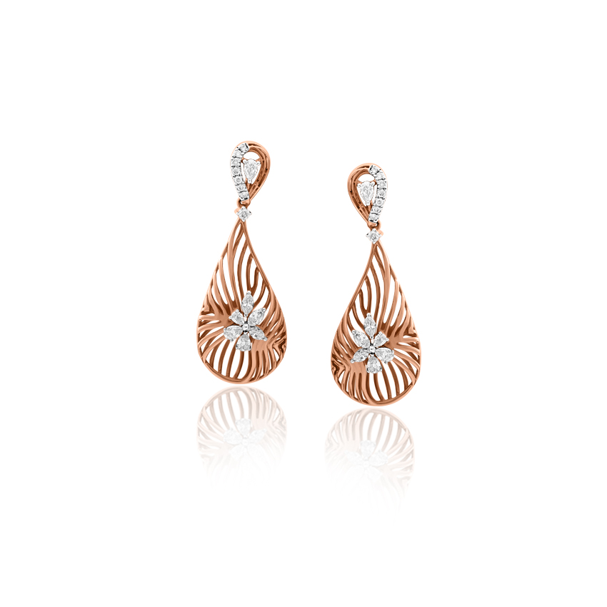 Diamond Earrings 18 Karat Rose Gold Ariana Gleaming Diamond Drop Earrings
