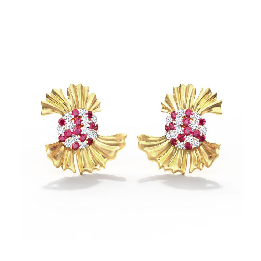 Diamond,Gemstone Earrings 14 Karat Yellow Gold Beautiful Ginkgo Gemstone Stud Earrings
