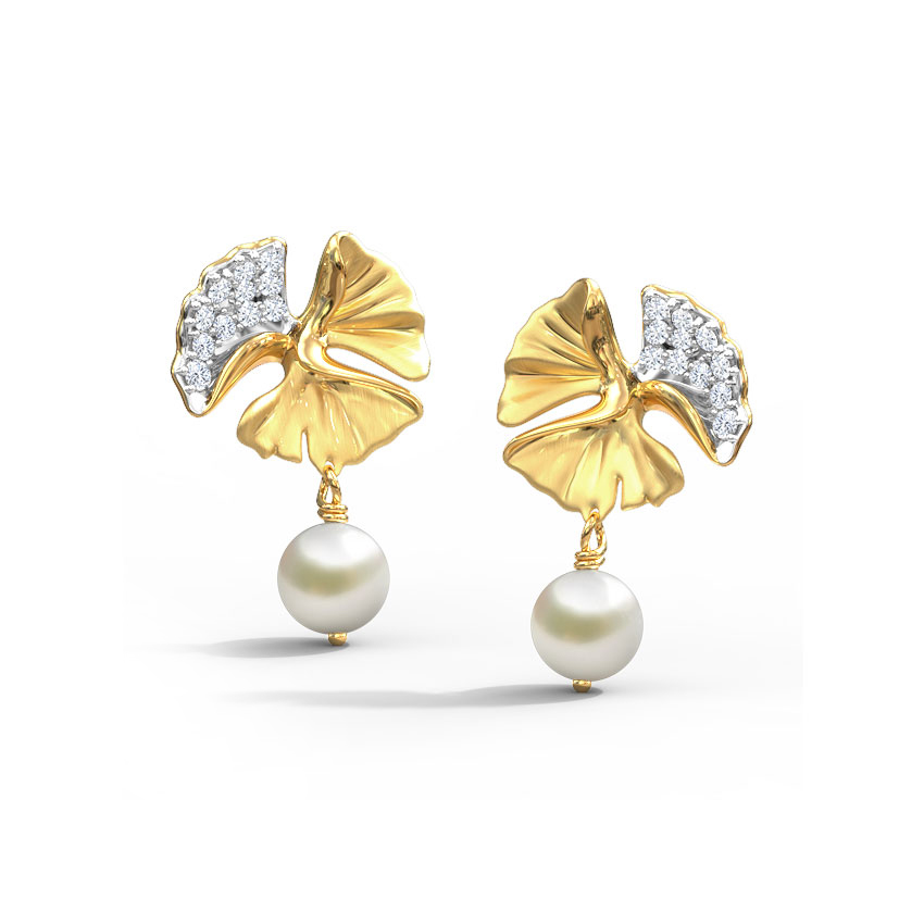 Diamond,Gemstone Earrings 14 Karat Yellow Gold Exquisite Ginkgo Gemstone Drop Earrings