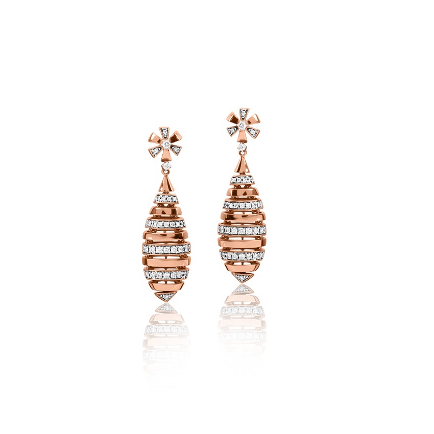 Diamond Earrings 18 Karat Rose Gold Admirable Linear Diamond Drop Earrings