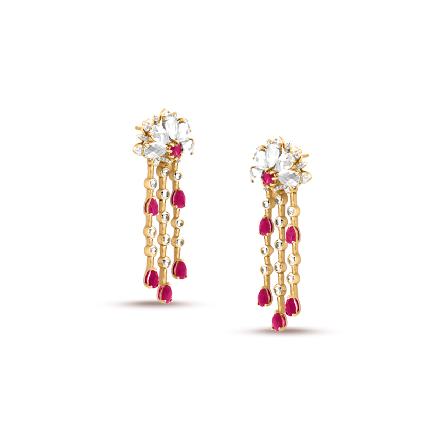 Carmine Bloom Drop Earrings