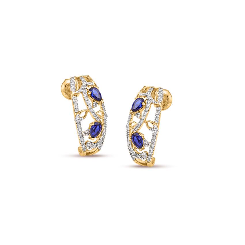 Diamond,Gemstone Earrings 18 Karat Yellow Gold Bedazzled Gemstone Hoop Earrings