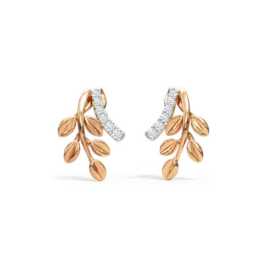 Diamond Earrings 18 Karat Rose Gold Curvilinear Fern Diamond Stud Earrings