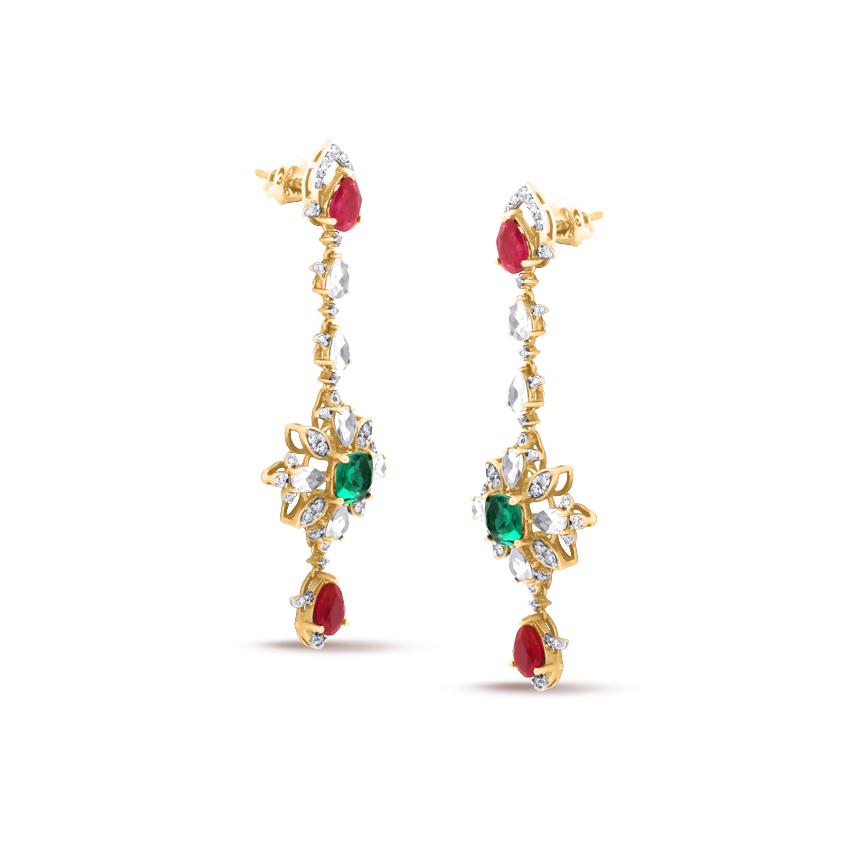 Diamond,Gemstone Earrings 18 Karat Rose Gold Alluring Bling Gemstone Drop Earrings