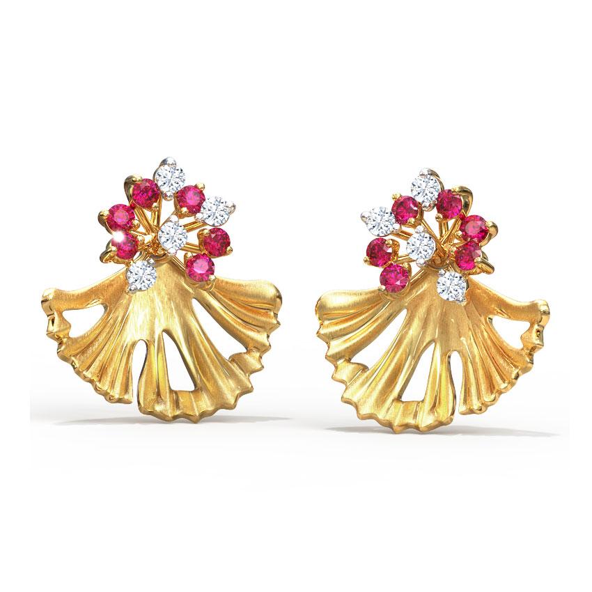Artistic Ginkgo Stud Earrings