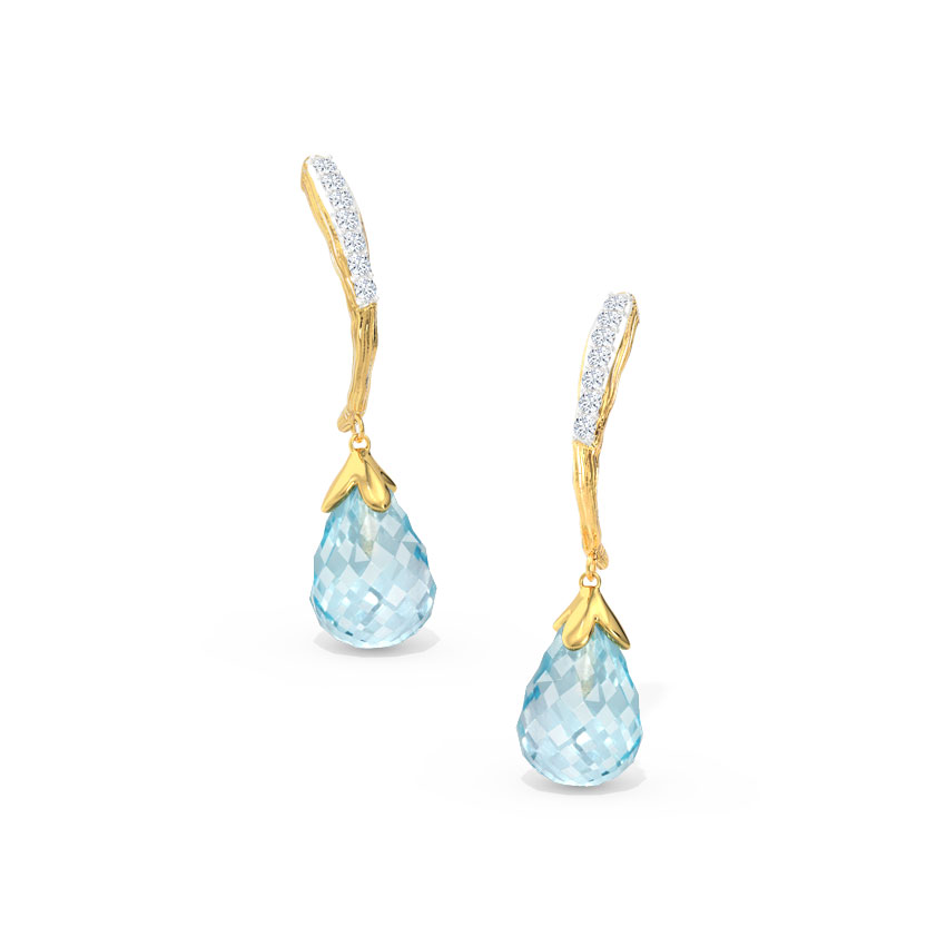 Crescent Dewdrops Drop Earrings