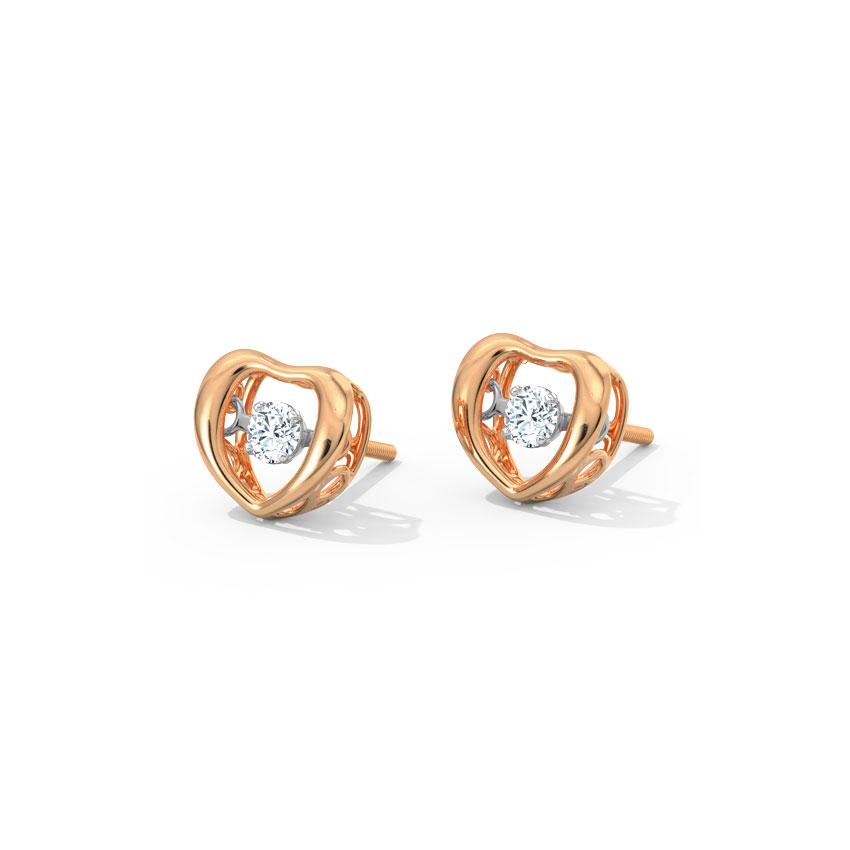 Doris Heartbeat Diamond Stud Earrings