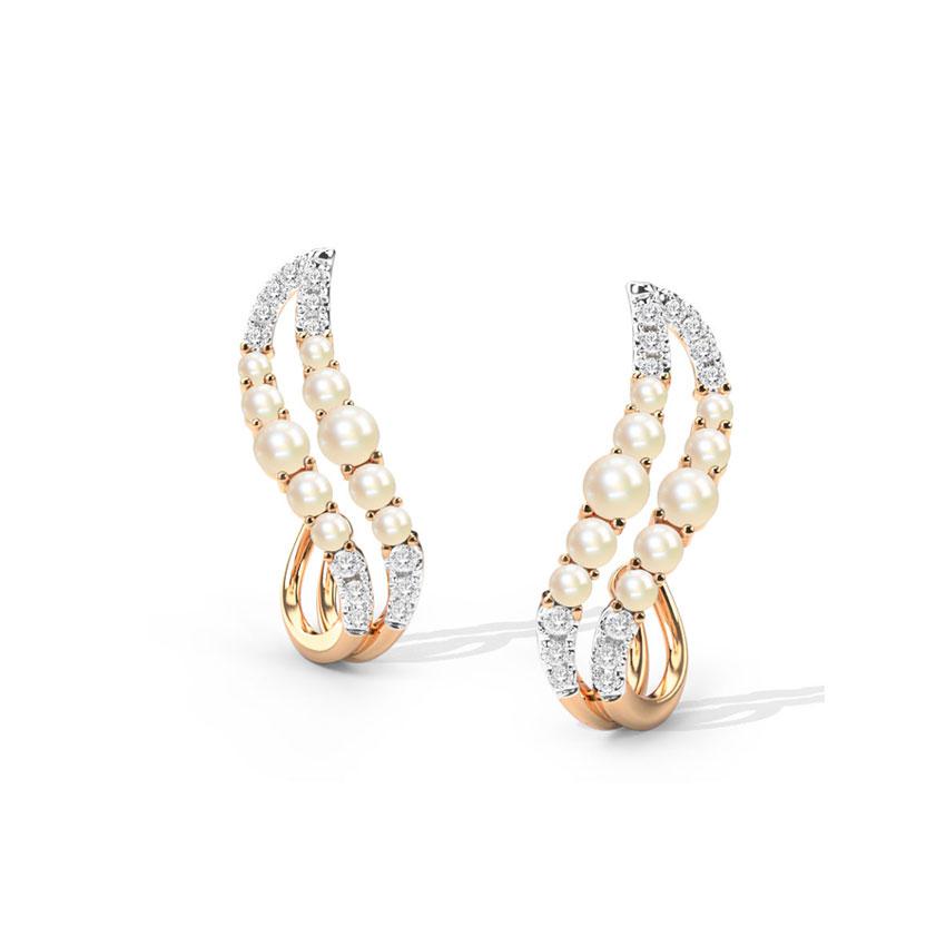 Diamond,Gemstone Earrings 18 Karat Rose Gold Eleve Gemstone Hoop Earrings