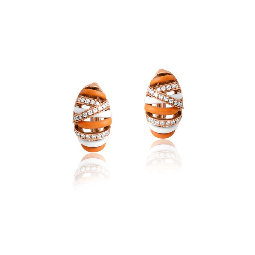 Diamond Earrings 18 Karat Rose Gold Fine Intertwine Hoop Earrings