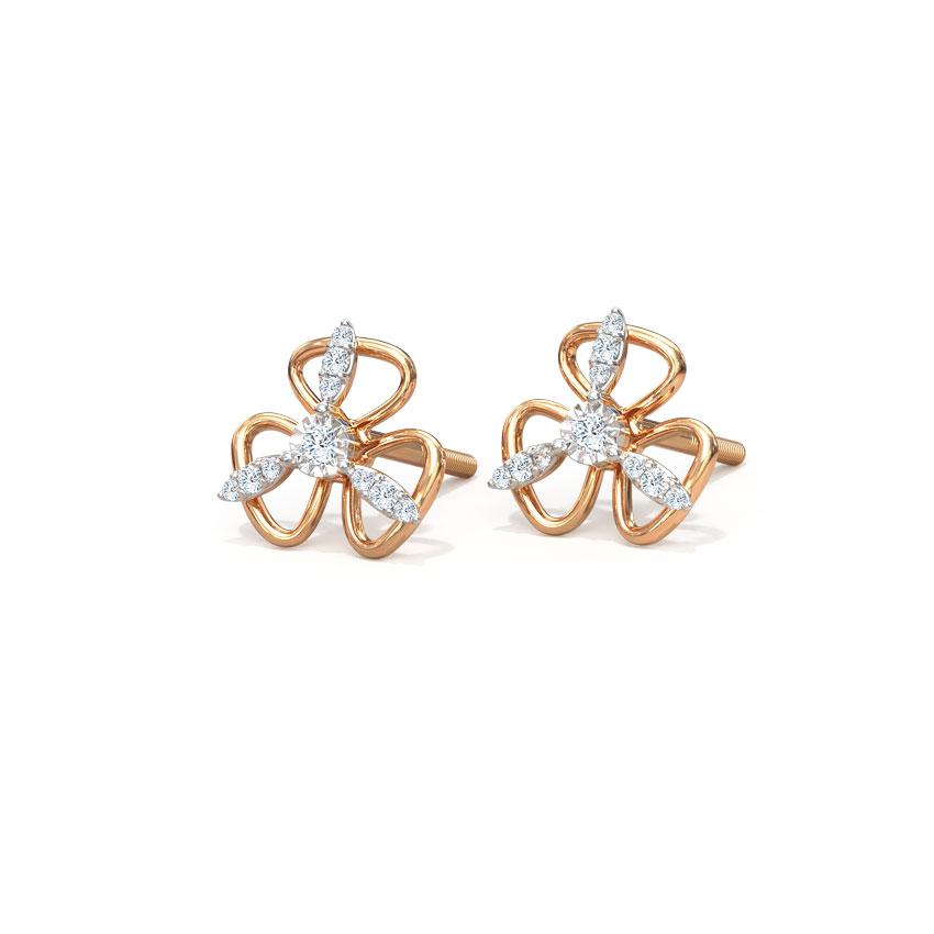 Diamond Earrings 14 Karat Rose Gold Floral String Diamond Stud Earrings