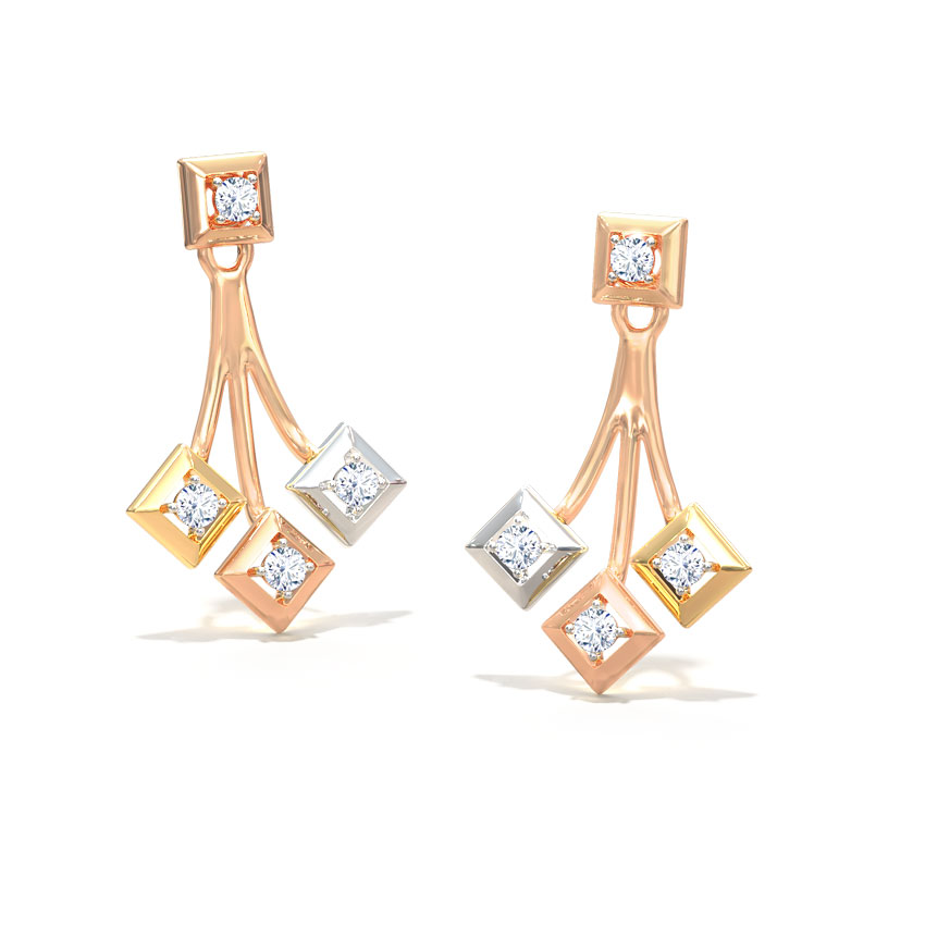 Quad Triplet Stud Earrings