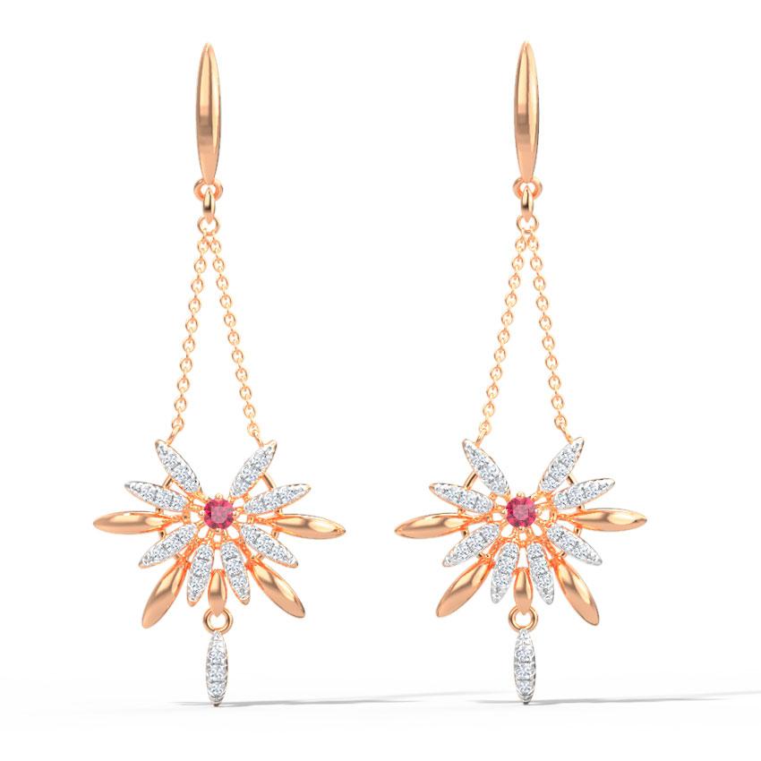 Diamond,Gemstone Earrings 14 Karat Rose Gold Joanna Gemstone Drop Earrings