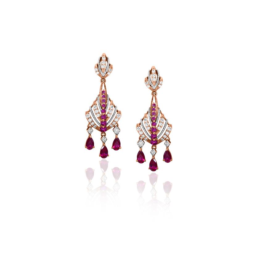 Diamond,Gemstone Earrings 18 Karat Yellow Gold Amara Graceful Gemstone Drop Earrings