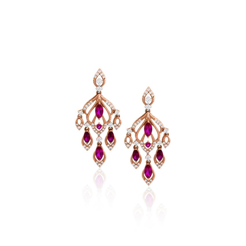 Diamond,Gemstone Earrings 18 Karat Rose Gold Jasmine Fascinating Gemstone Drop Earrings