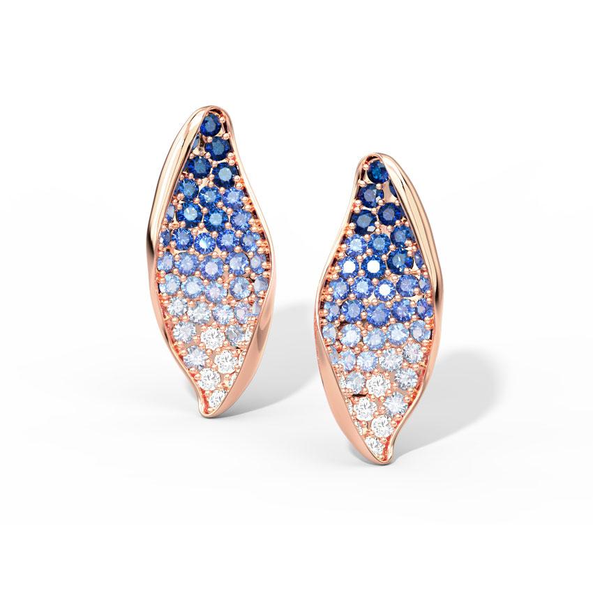 Diamond,Gemstone Earrings 18 Karat Rose Gold Ripple Blue Gemstone Stud Earrings