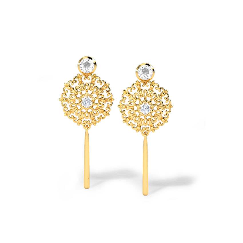 Diamond,Gemstone Earrings 18 Karat Yellow Gold Idalia Diamond Drop Earrings