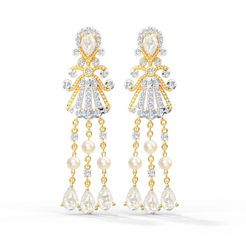 Diamond,Gemstone Earrings 18 Karat Yellow Gold Charlotte Gemstone Drop Earrings