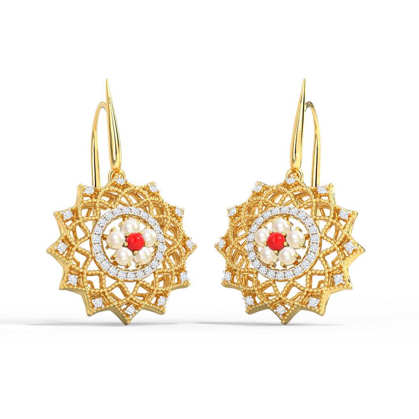 Diamond,Gemstone Earrings 18 Karat Rose Gold Grace Kelly Drop Earrings