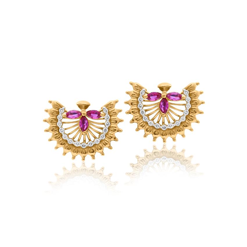 Diamond,Gemstone Earrings 18 Karat Yellow Gold Sahira Radiant Gemstone Stud Earrings