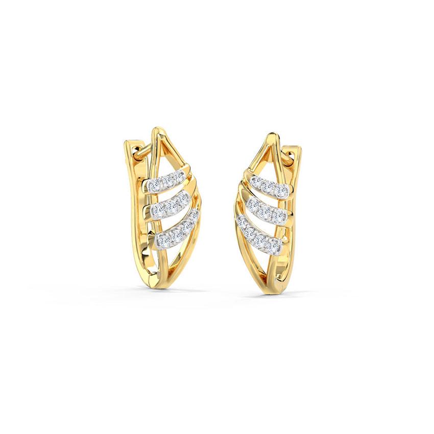 Diamond Earrings 14 Karat Yellow Gold Leena Diamond Hoop Earrings