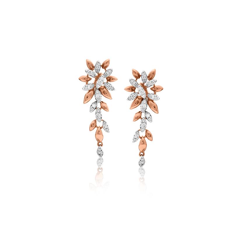 Diamond Earrings 14 Karat Rose Gold Amara Graceful Diamond Drop Earrings