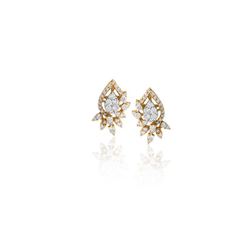 Diamond Earrings 18 Karat Rose Gold Dazzle Pear Diamond Stud Earrings