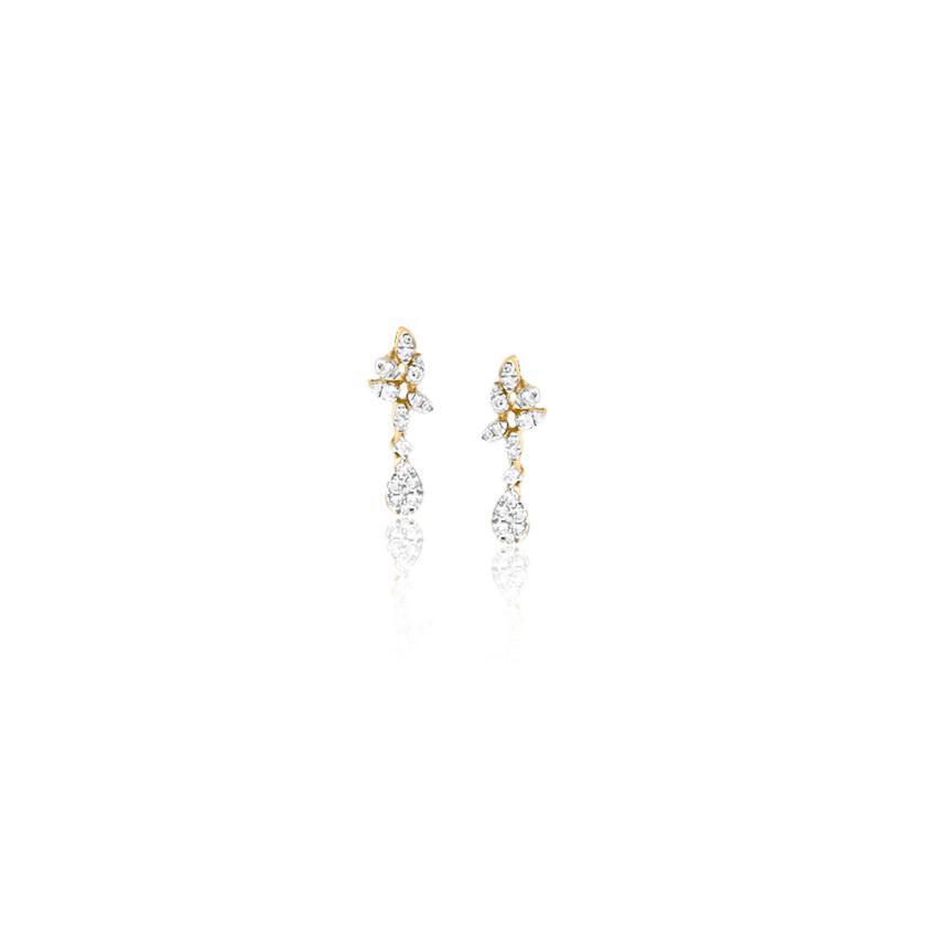 Diamond Earrings 18 Karat Yellow Gold Sprinkle Diamond Drop Earrings