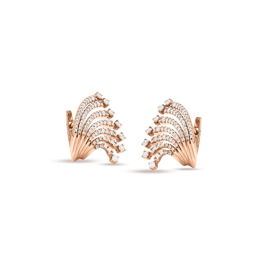 Diamond Earrings 18 Karat Rose Gold Wave Diamond Stud Earrings