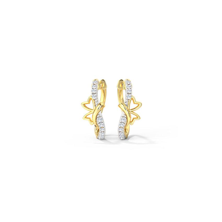 Diamond Earrings 14 Karat Yellow Gold Lisa Butterfly Hoop Earrings